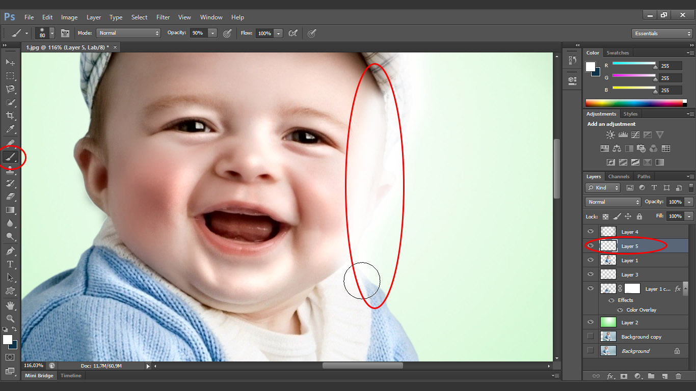 Light 600x337 baby photo retouching tutorial on jill greenberg style