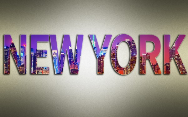 new york 600x375 How to Put Image into Text | Photoshop tutorial