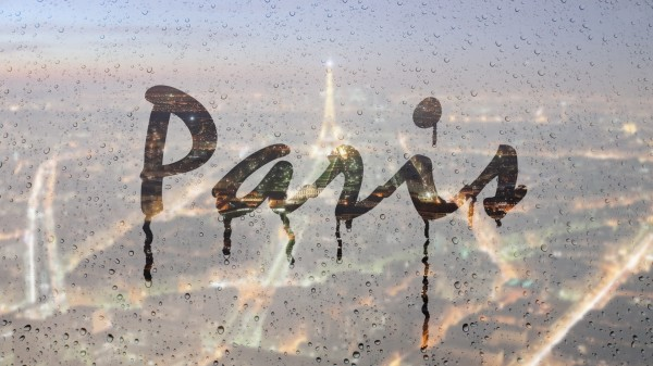 paris 600x337 Rainy Text effect: Write text on foggy window in Photoshop
