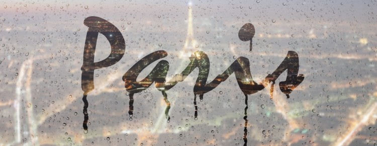paris rainy foggy text effect