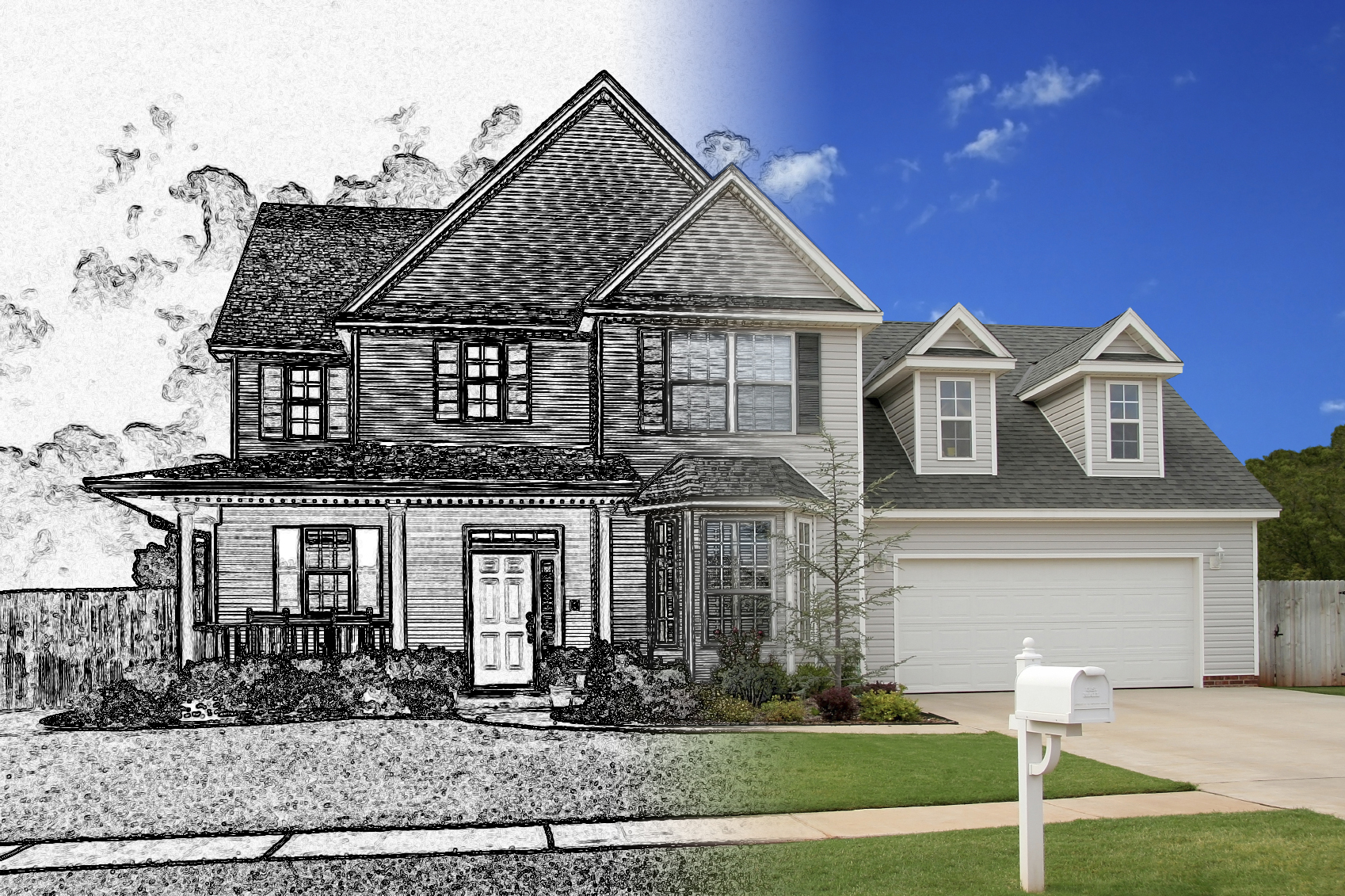 Transition from photo to sketchphotoshop tutorial photoshop sketched house 600x399 transition from photo to sketchphotoshop tutorial baditri Image collections